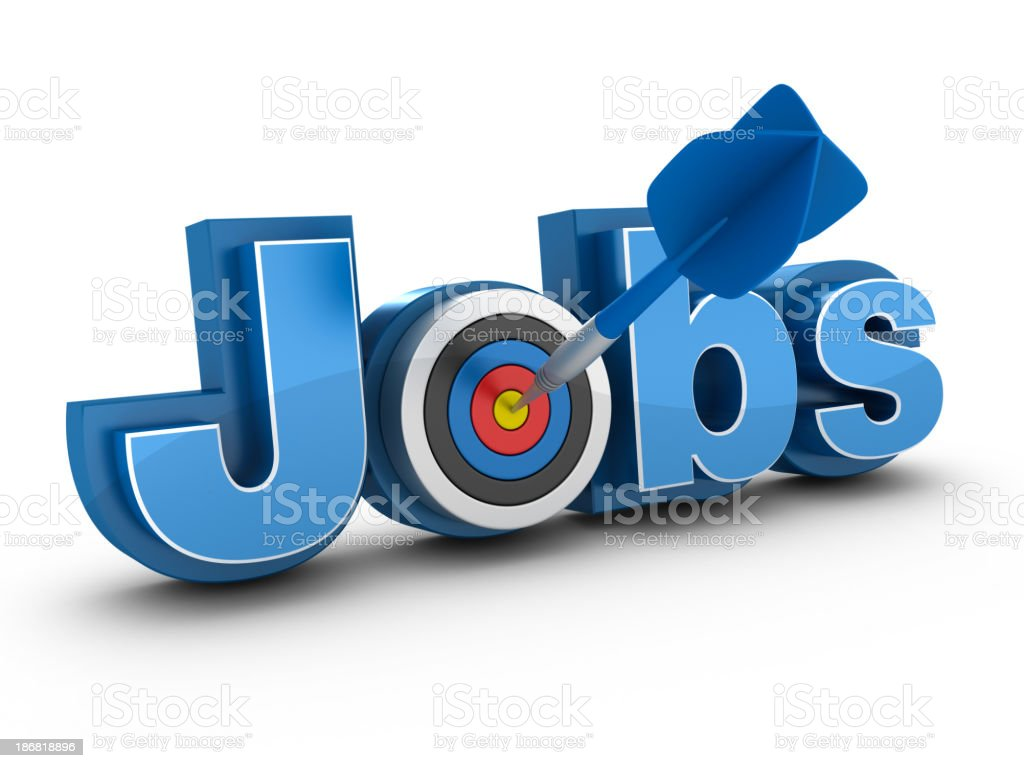Word Jobs in 3D in blue with O as target with a dart in it royalty-free stock photo