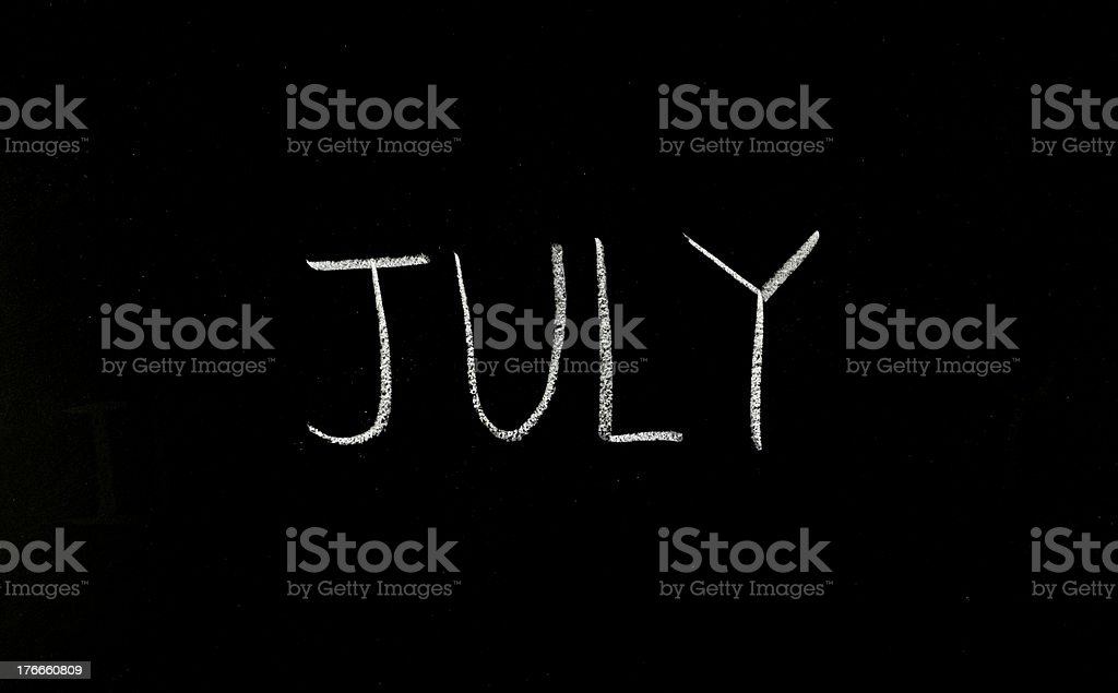 word 'july' on blackboard royalty-free stock photo