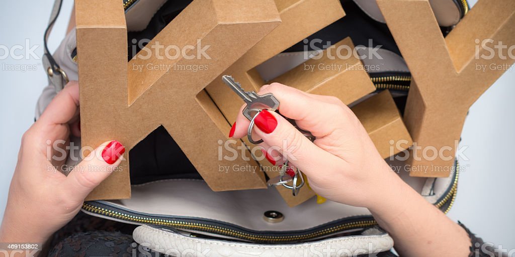 Word Key out the bag stock photo