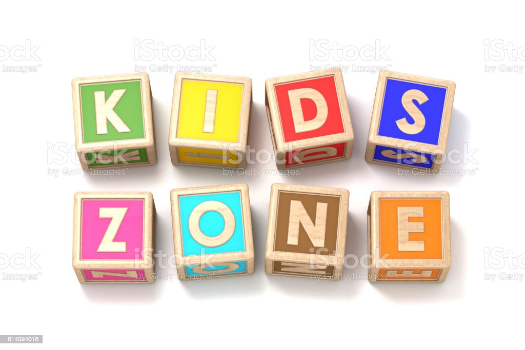 Word KIDS ZONE made of wooden blocks toy 3D stock photo
