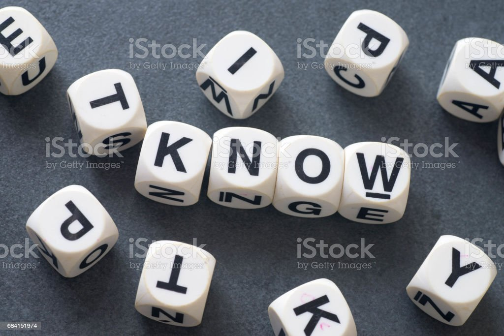 word know on toy cubes foto stock royalty-free
