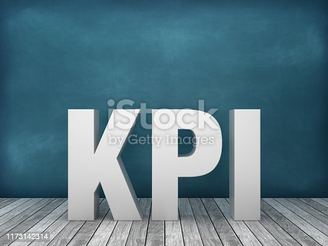 3D Word KPI on Chalkboard Background - 3D Rendering