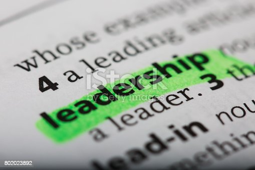 Word leadership printed and defined in a English dictionary