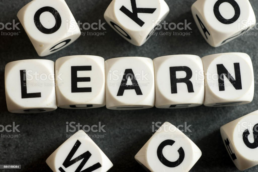 word learn on toy cubes royalty-free stock photo