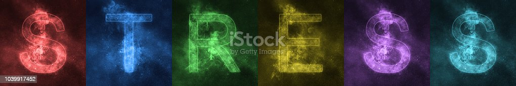 istock Word lettering STRESS Space stylized colorful Letters. STRESS banner 1039917452
