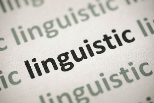word linguistic printed on white paper macro