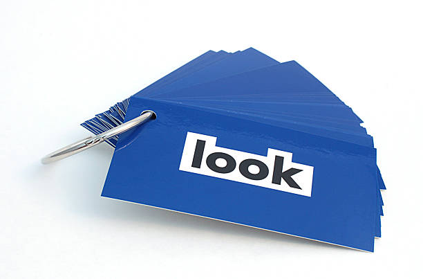 Word Look on Blue Card stock photo