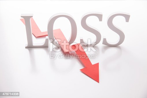 Word Loss and chart arrow in red. Concept for business failure