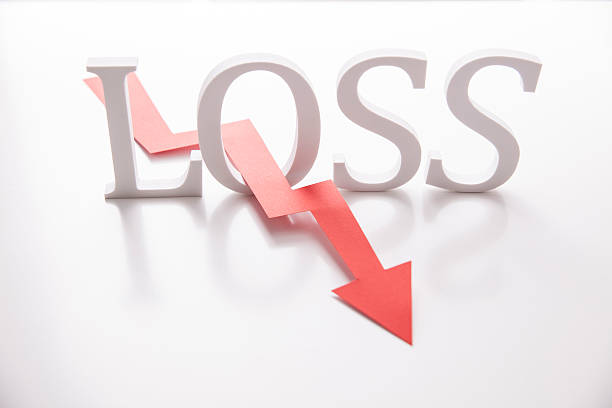 Word Loss and chart arrow Word Loss and chart arrow in red. Concept for business failure depreciation stock pictures, royalty-free photos & images