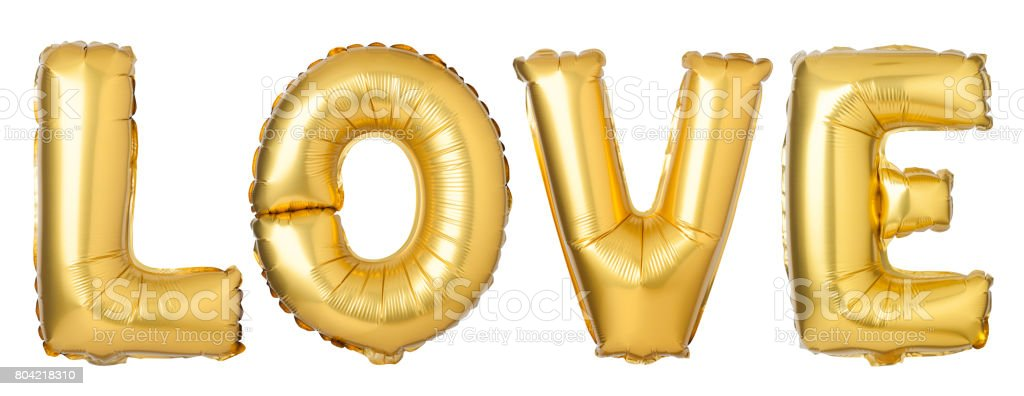 Word LOVE in English alphabet from golden balloons stock photo
