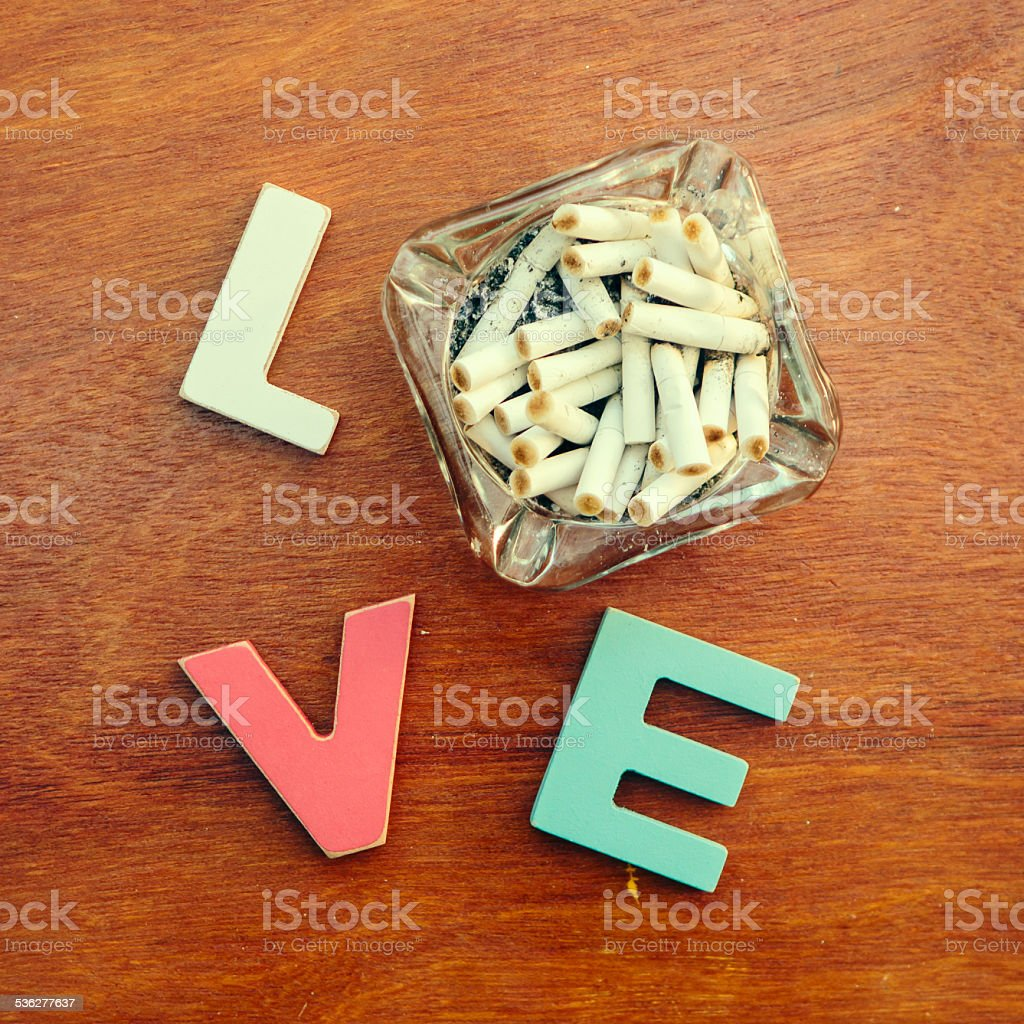 word love on a wooden board stock photo