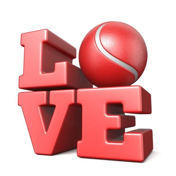wort-liebe mit tennis ball 3d - 3d typografie stock-fotos und bilder
