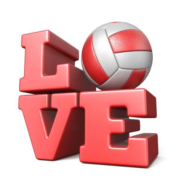 wort-liebe mit volley ball 3d - 3d typografie stock-fotos und bilder