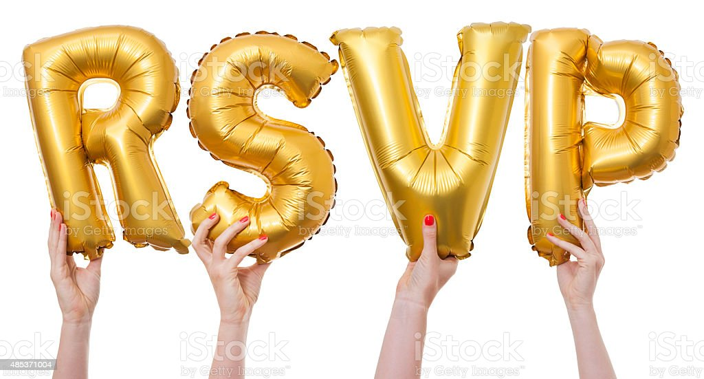RSVP word made from gold balloons stock photo