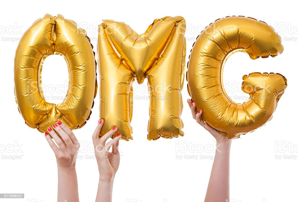 OMG word made from gold balloons stock photo