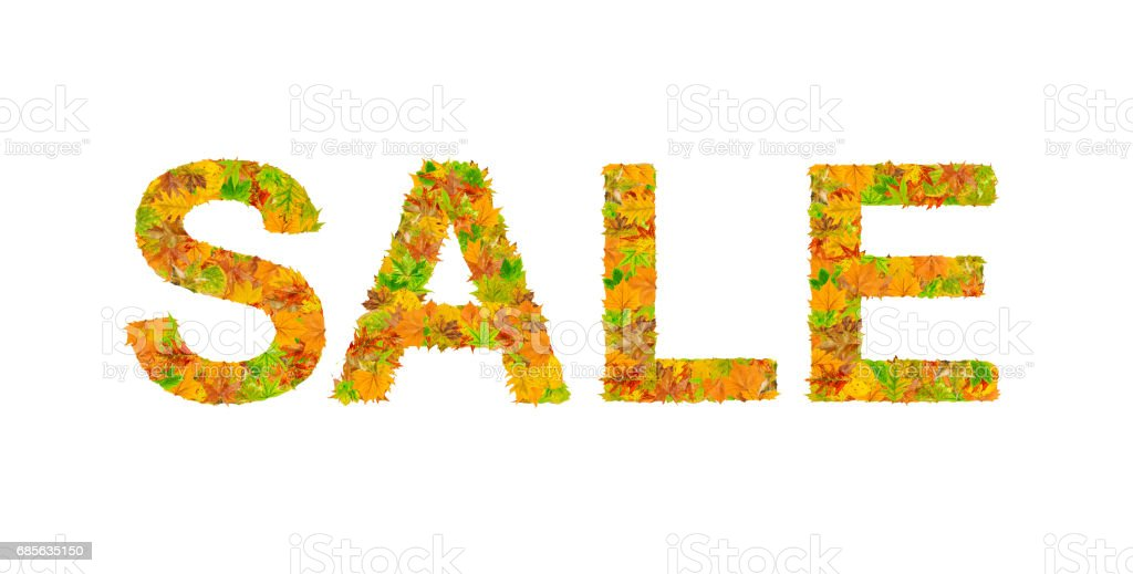 出售詞作的秋天葉子孤立 免版稅 stock photo