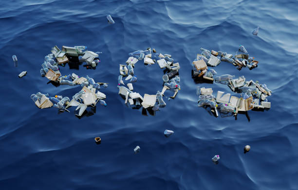 SOS Word Made Up of Plastic Waste on Water Surface stock photo