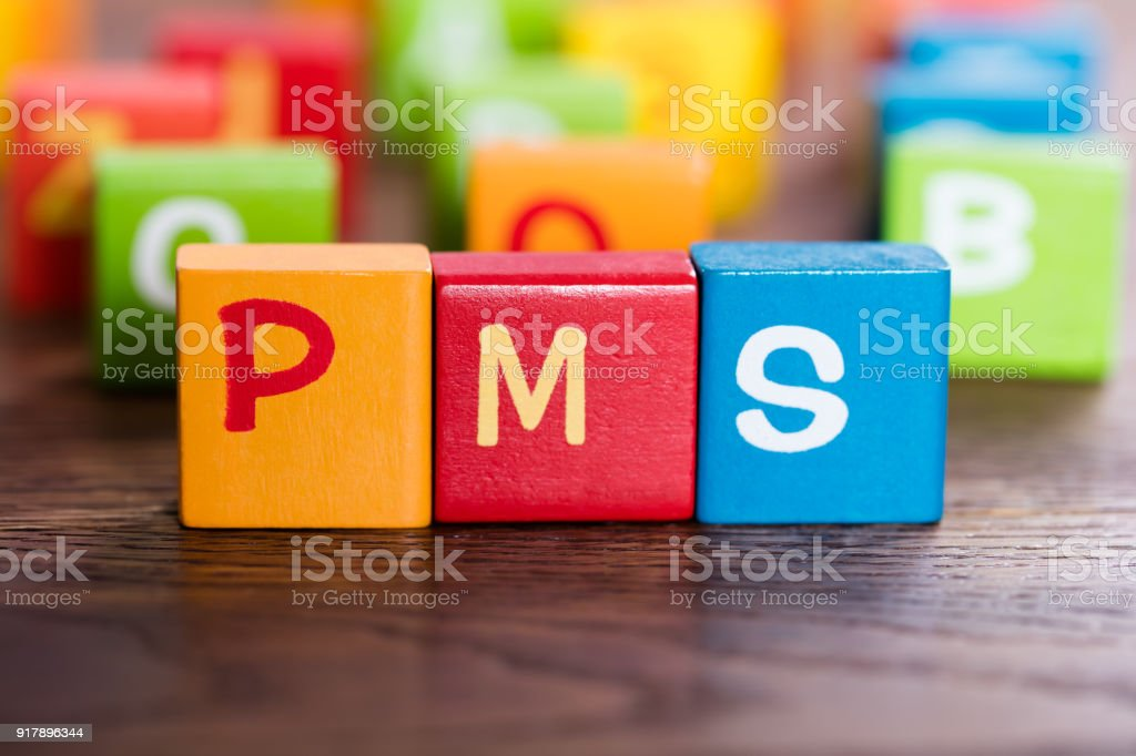 PMS Word Made With Blocks stock photo