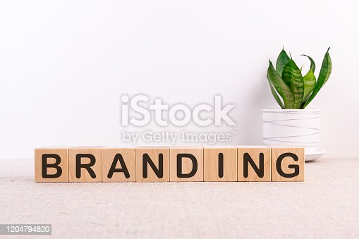 BRANDING word made with building blocks on a light background