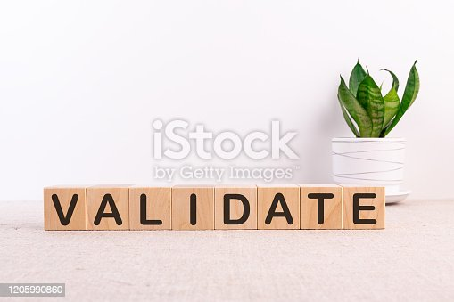 508610235 istock photo VALIDATE word made with building blocks on a light background 1205990860