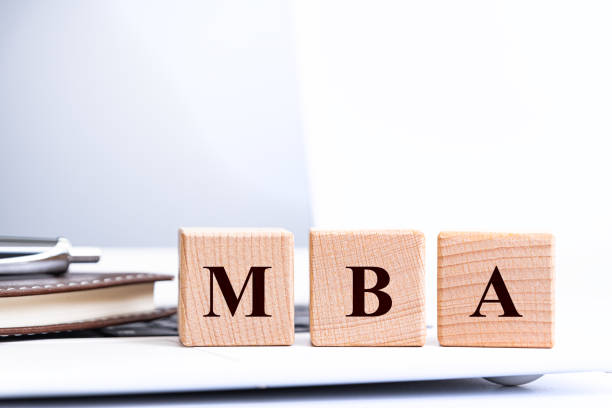 MBA word made with building blocks stock photo