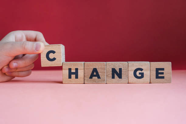 CHANGE word made with building blocks. stock photo