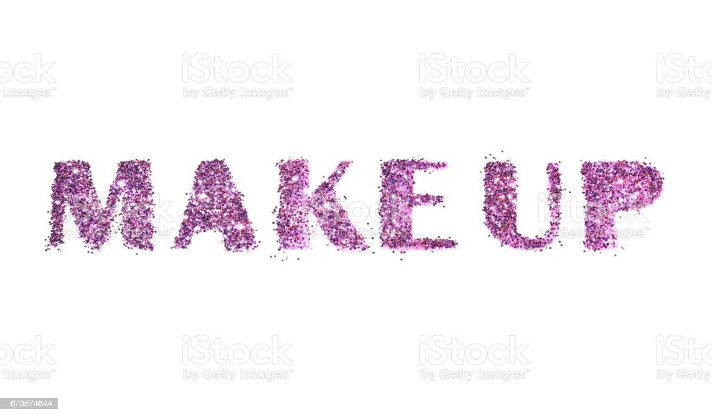 word make up of purple glitter on white お祝いのストックフォトや