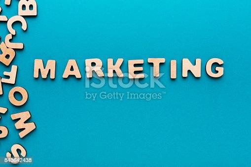 185257431 istock photo Word Marketing on wooden background 843642438