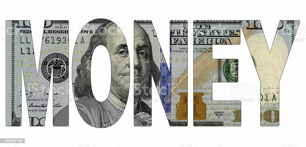 Word Money Of The New 100 Dollar Bill Stock Photo ...
