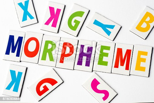 word morpheme made of colorful letters on white background