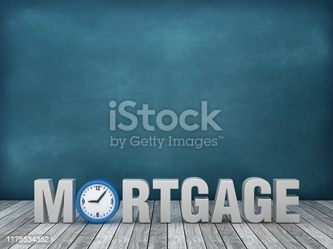 istock 3D Word MORTGAGE with Clock on Chalkboard Background - 3D Rendering 1175534352