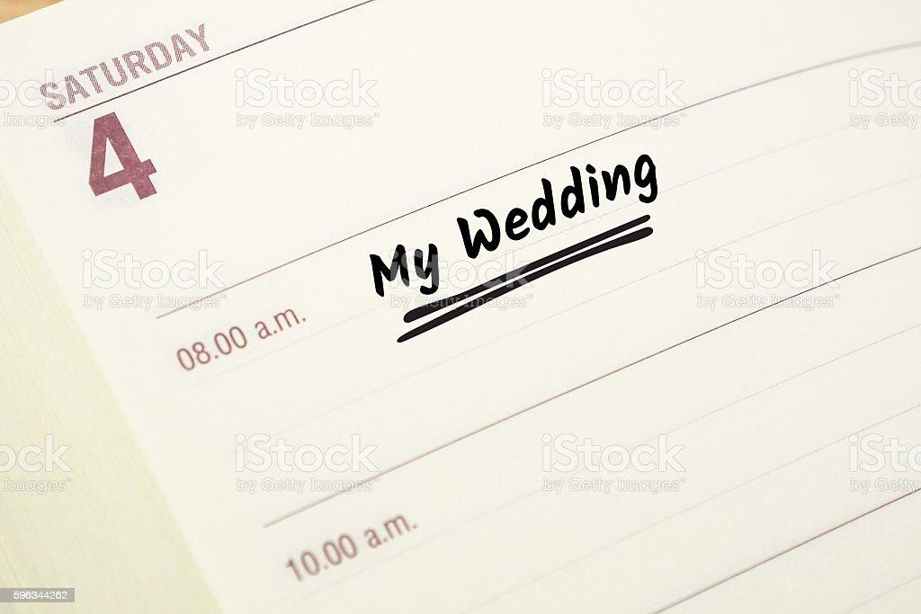 word my wedding on daily planner Lizenzfreies stock-foto