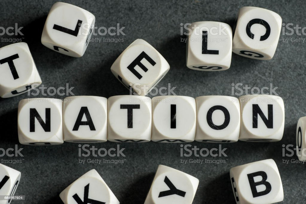 word nation on toy cubes royalty-free stock photo