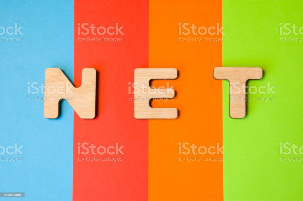 Word NET composed of 3D letters is in background of 4 colors: blue, red, orange and green. Domain designation or framework, short  of global network or the Internet. Design content for sites, blogs stock photo