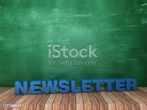 1132886484 istock photo 3D Word NEWSLETTER on Chalkboard Background - 3D Rendering 1177484147