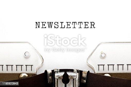 1132886484 istock photo Word Newsletter Typed On Retro Typewriter 1195920943