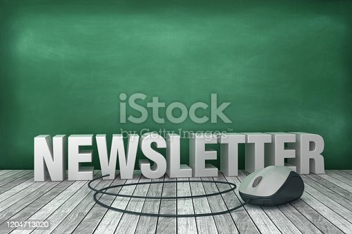 1132886484 istock photo 3D Word NEWSLETTER with Computer Mouse on Chalkboard Background - 3D Rendering 1204713020
