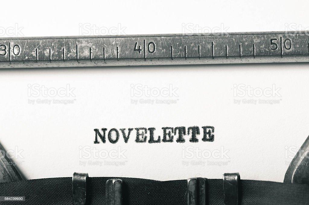 word novelette typed on typewriter stock photo