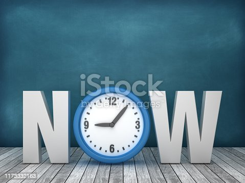 3D Word NOW with Clock on Chalkboard Background - 3D Rendering
