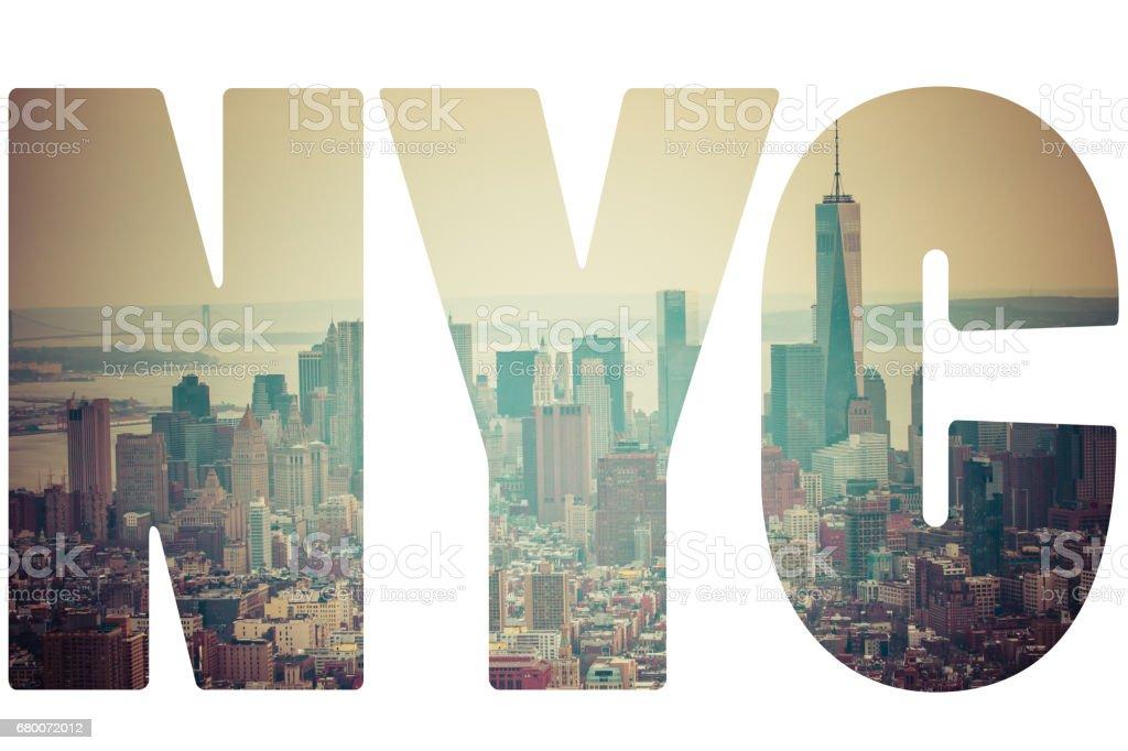Word NYC Manhattan skyline at sunset, New York City stock photo