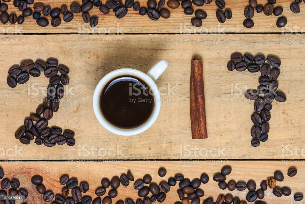 word  of coffee 2017 - new year foto de stock royalty-free