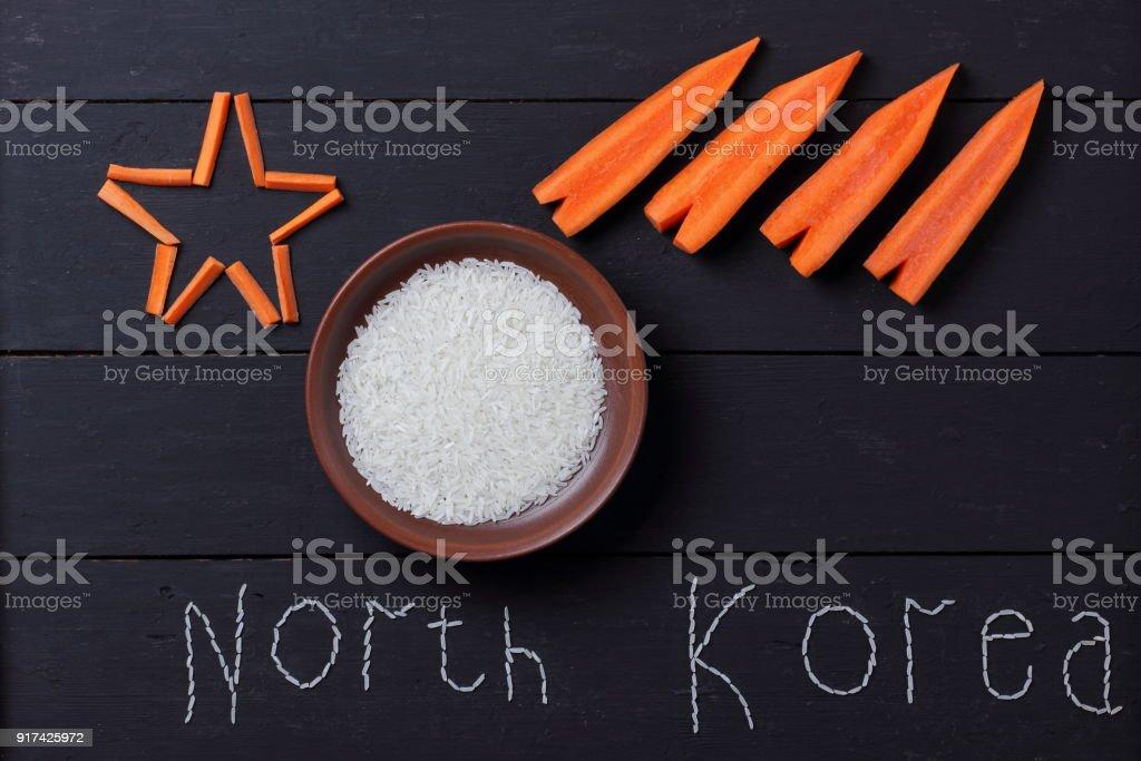 Wort von Reis nach Nordkorea, konzeptuelle Collage zum Thema Atomkrieg mit Nordkorea, eine Atomrakete in Form von Möhren, politischer Konflikt – Foto