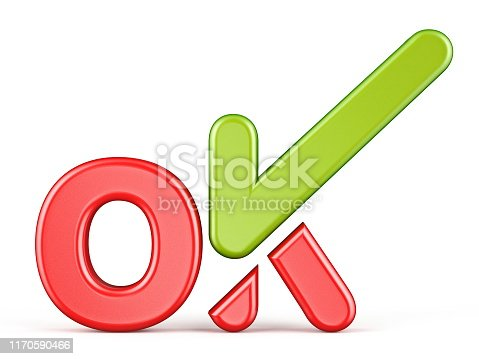 istock Word OK with green check mark Front view 3D 1170590466