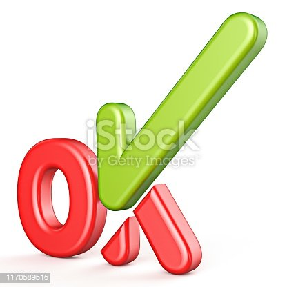 istock Word OK with green check mark Side view 3D 1170589515