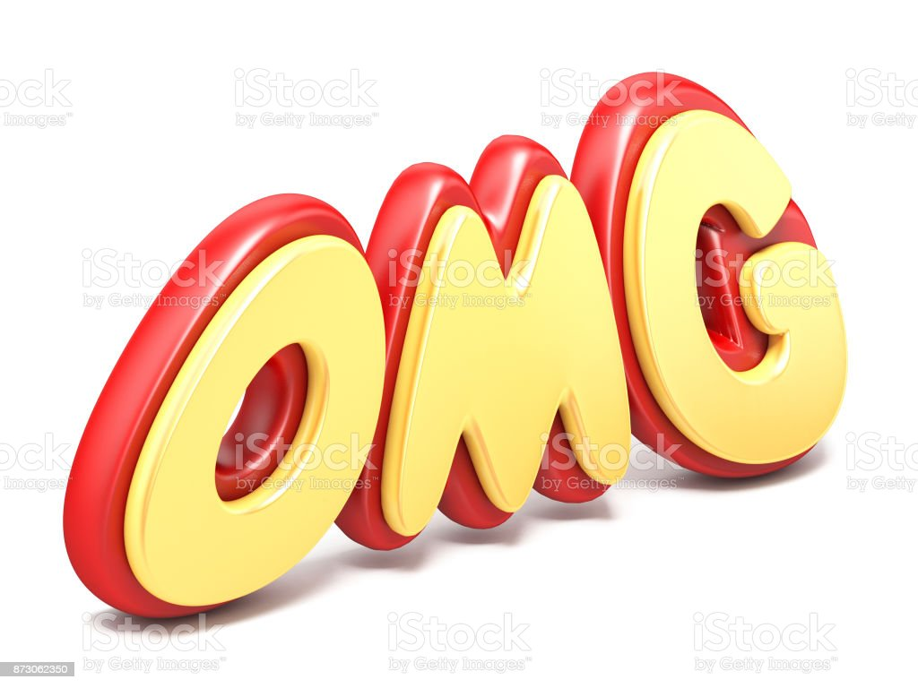 Word OMG twisted red and yellow plastic on ground reflection 3D stock photo