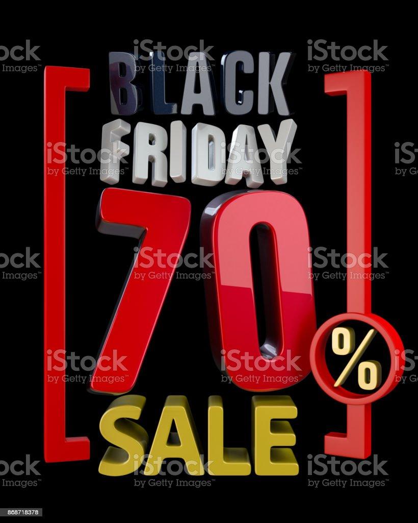 BLACK FRIDAY SALE 70 % SALES word on black background illustration stock photo