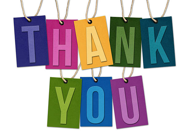THANK YOU Word on Black Tags Isolated on White Background stock photo