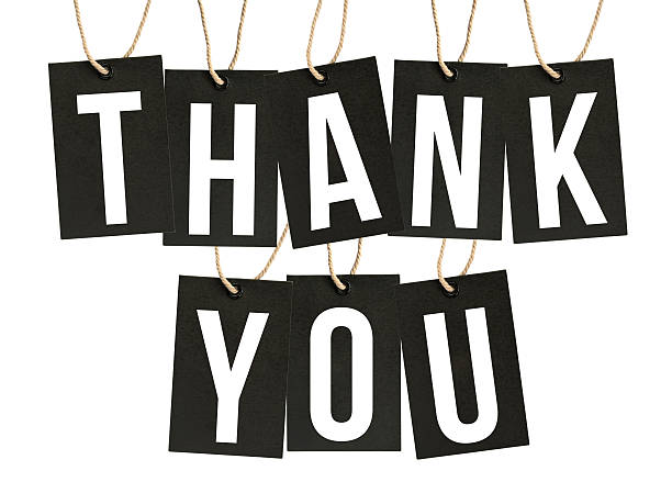 THANK YOU Word on Black Tags Isolated on White Background – Foto
