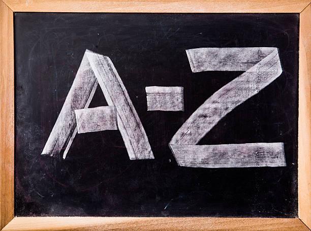 A-Z word on blackboard stock photo