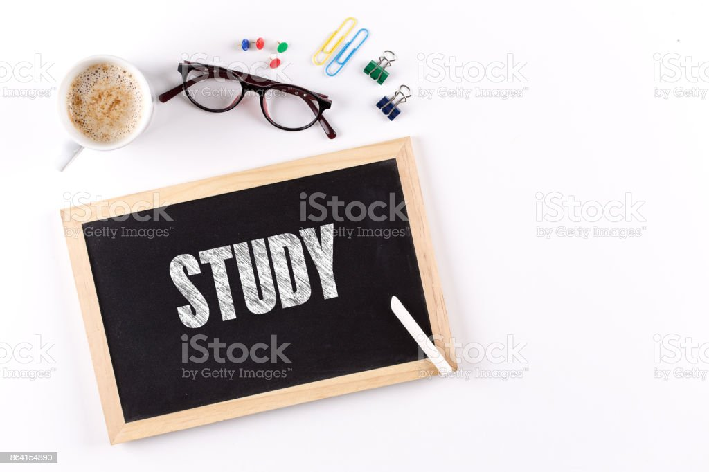 STUDY word on Chalkboard with Coffee Cup, view from above royalty-free stock photo